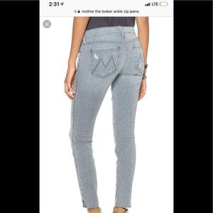 Mother jeans 24 the looked ankle zip crop jeans